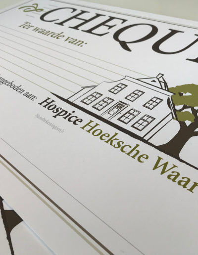 Hospice-Cheques op foamboard